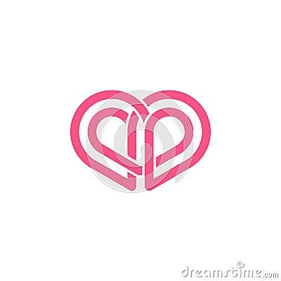 Abstract love shape logo. Stock Photo