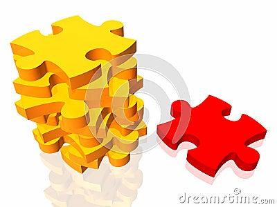Unique puzzle 3d concept