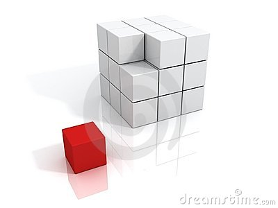 Unique red cube. leader business concept.