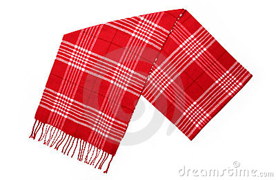 Unisex Cashmere Wool Red Plaid Scarf