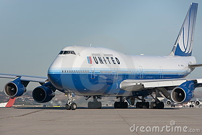 United Airlines Boeing 747 jet on the runway Editorial Stock Photo