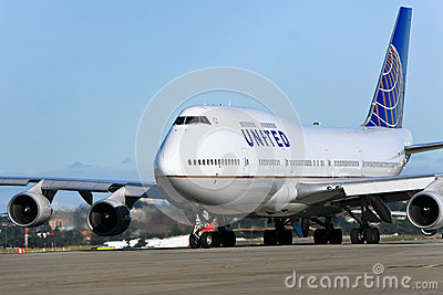 United Airlines Boeing 747 jet on tarmac Editorial Stock Image