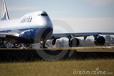United Airlines Boeing 747 on runway. Editorial Photography
