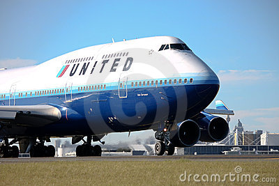 United Airlines Boeing 747 on runway. Editorial Stock Photo