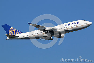 United Airlines Boeing 747-400 airplane Editorial Stock Image