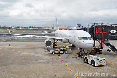 United Airlines plane at Newark Airport Editorial Image