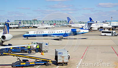 Busy Chicago O Hare airport Editorial Photo