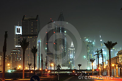 United Arab Emirates: Dubai skyline at night