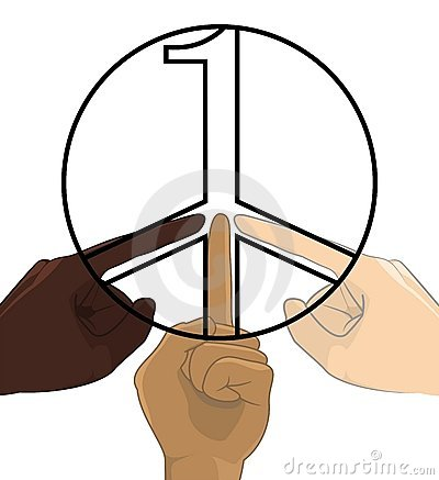 United as One No Racism World Peace Symbol Concept
