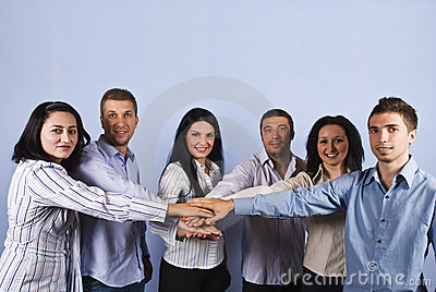 United business people with hands together