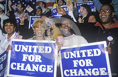 United For Change signs Editorial Stock Image