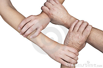 United hands isolated with clipping path