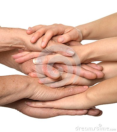 United hands on white Stock Photo
