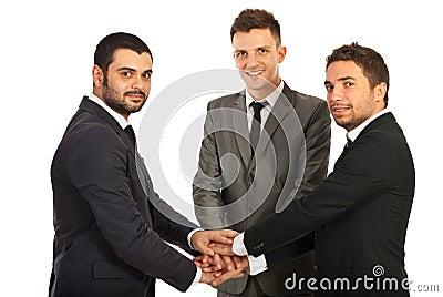United happy team of business men
