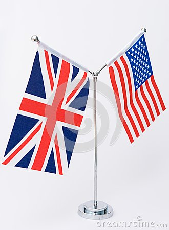 United Kingdom and american table flag