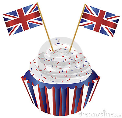 United Kingdom England Cupcake with Flags