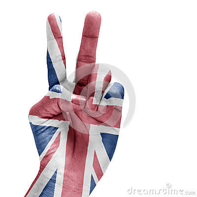 United Kingdom Flag On Hand.
