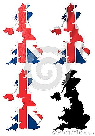 United Kingdom flag over map