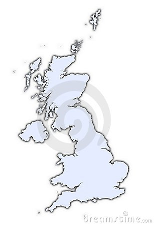 United Kingdom light blue map