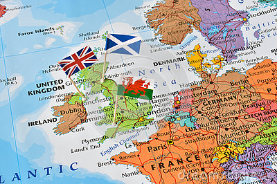 United kingdom map, flags of England, Scotland, Wales, brexit concept Stock Photo