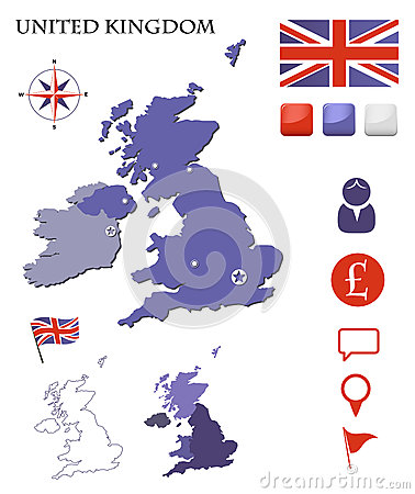 United Kingdom map and icons set