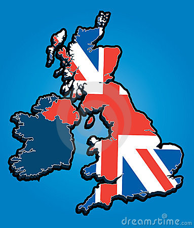 United Kingdom Map with Union Jack