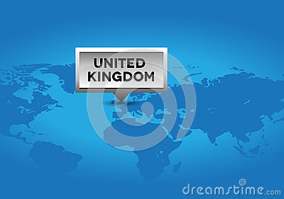United Kingdom pointer on world map