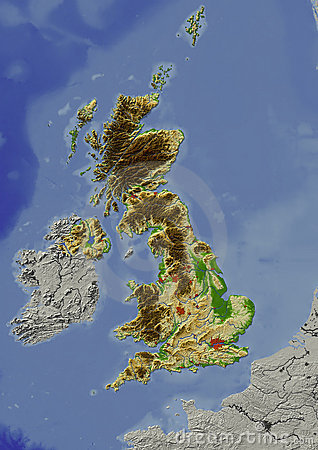 United Kingdom, relief map