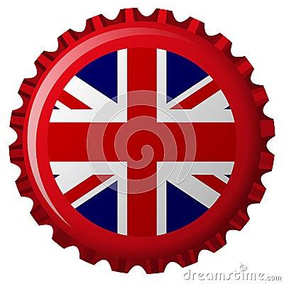 United kingdom stylized flag on bottle cap