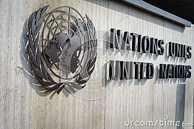 United Nations Badge in Geneva Editorial Stock Image