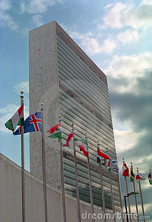 United Nations Building and Flags NYC USA