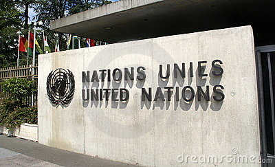 United Nations im Geneva: entrance Editorial Image