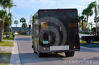 United Parcel Service UPS truck van delivery Editorial Image