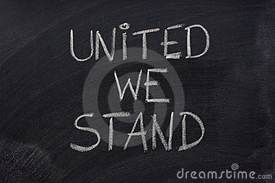 United we stand phrase on blackboard