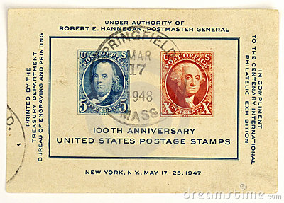 United States 100th Anniversary Postage Stamps Editorial Photo