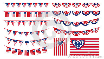 United States of America bunting and flags