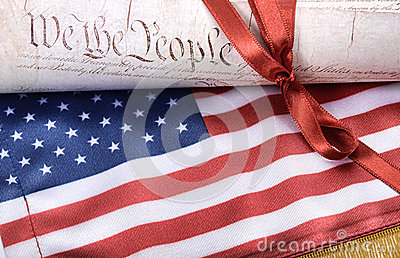 United States of America Constitution and USA flag