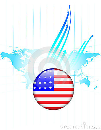 United States of America Flag Button World Map