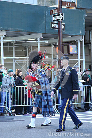 United States Army Rangers marching at the St. Patrick`s Day Parade in New York. Editorial Stock Photo