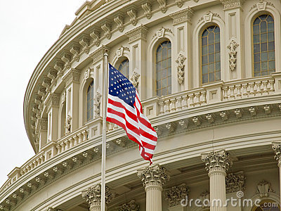 United States Capitol Building with American Flag