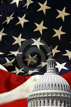 United States Capitol with Flag Background