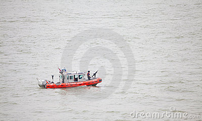 The United States Coast Guard Boat on Hudson River Editorial Photo