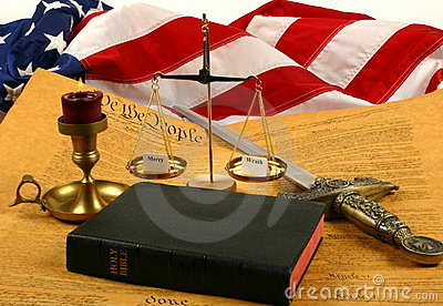 United States Constitution, Bible, scales weighing mercy and wrath, and Flag