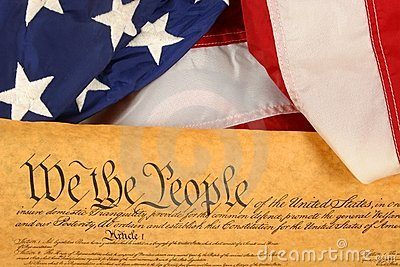 United States Constitution and Flag -- Landscape Orientation with Flag draped over document