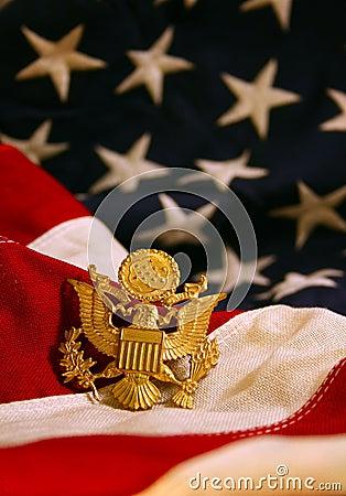 United States Flag Background with Eagle Emblem