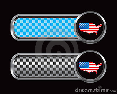 United states flag on blue and black checkered tab