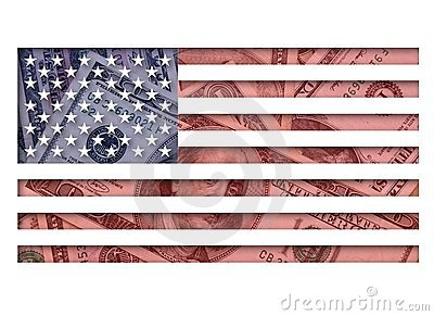 United States flag and dollars