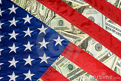 United States Flag and Money
