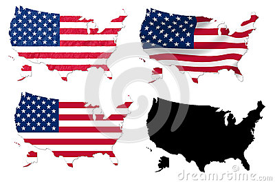 United States flag over map