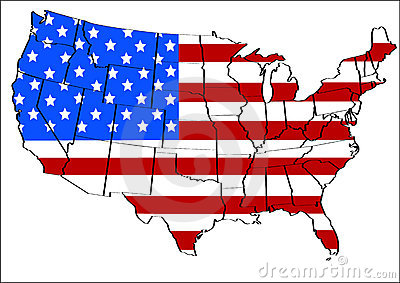 United states with flag overlay